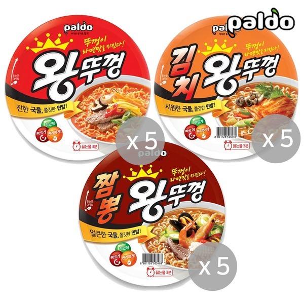 왕뚜껑 3종(혼합) x 5개 김치/짬뽕/오리지널(총15개)
