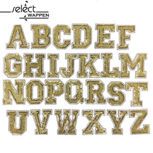 열접착식 와펜 황금스팽글 알파벳 모음 패치 다림질