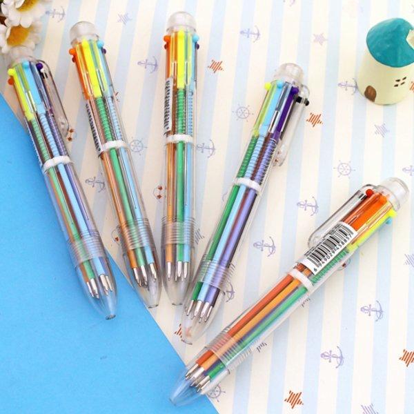 6색볼펜 원터치 색상전환 학생 선물 컬러 볼펜 6색볼펜