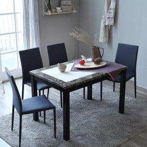 캘빈 대리석  젠 4인 식탁 세트 /의자형