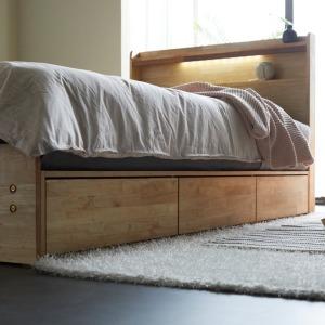 라비아 수납서랍형 고무나무 원목 LED 슈퍼싱글 침대