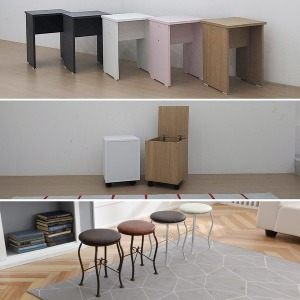 홈퍼니 원형 사각 수납 스툴 보조 의자 화장대 의자