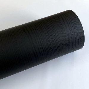 블랙 페인티드우드 단색 무늬목 시트지 HPW-710