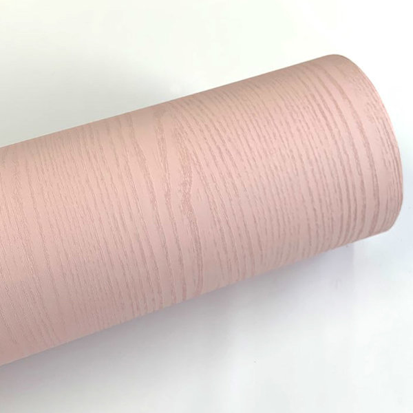 핑크 페인티드우드 단색 무늬목 시트지 HPW-711