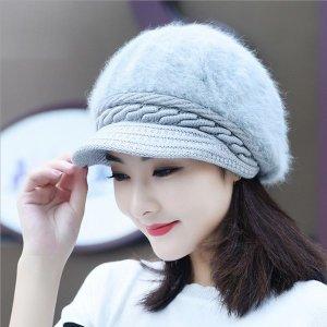 겨울 여성 털 모자 베레모 토끼털 보아캡 벙거지 모자