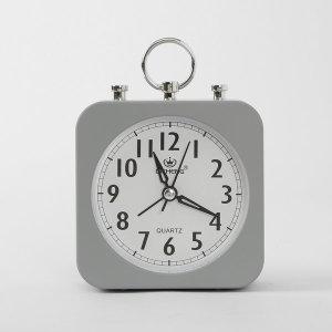 퀴리 사각 알람시계 / 그레이 무소음 탁상시계