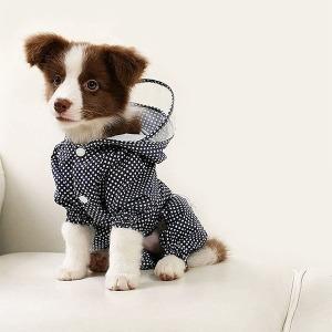 대구백화점 II관   유앤펫 강아지 도트 올인원 애견  레인코트 우비(강아지 비옷 3COLOR M~2XL)