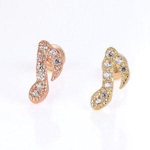 (러브썸쥬얼리) 러브썸쥬얼리 14K 크라쳇 피어싱 귀걸이 한쪽(핑크/옐로우)