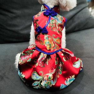 강아지 고양이 치파오 스타일 애견 명절 전통의상
