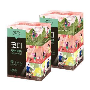 2팩) 코디 행복이톡톡톡(200매/3각)x2 각티슈/미용티슈