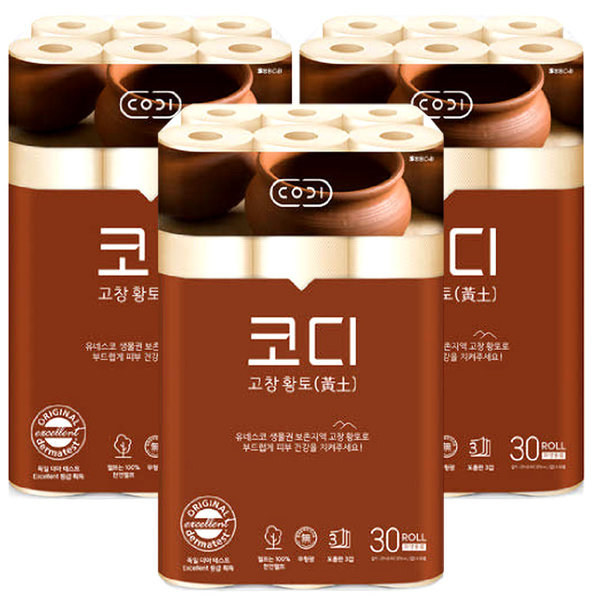 CODI 순수황토 3겹데코 30롤x3팩/총90롤 고창황토