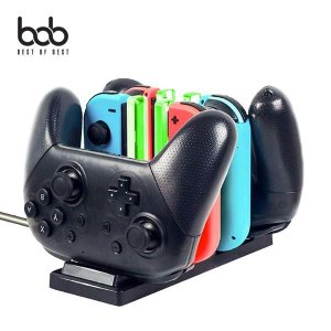 (현대Hmall) 비오비 bob 닌텐도스위치 전용 듀얼 2in1 조이콘 프로콘 컨트롤러 충전 독 거치대 도크 바보사