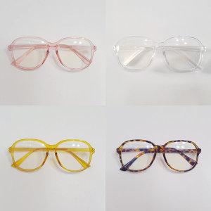여성 남성 공용 사각 오버사이즈 투명 뿔테 안경테