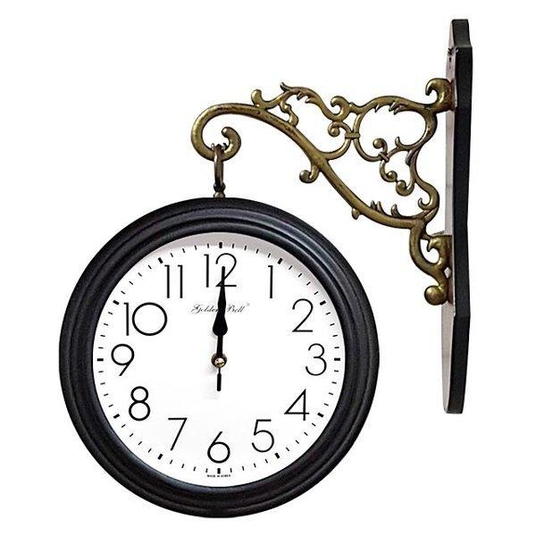 GB2301 양면 벽시계 진밤색 제조한국 양면시계