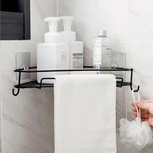철제 욕실 코너 선반 화장실선반 삼각선반 후크겸용
