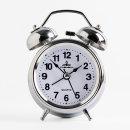 실버 해머벨 알람 탁상시계 인테리어 자명종시계