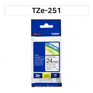 브라더 정품 TZe-251 24mm 백색바탕검정글씨
