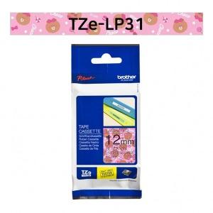 브라더정품 TZe-LP31 라인프렌즈12mm핑크바탕검정글씨