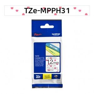 브라더 정품 TZe-MPPH31 12mm 하트패턴바탕검정글씨