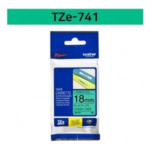 브라더 정품 TZe-741 18mm 초록바탕검정글씨