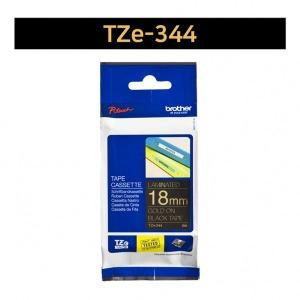브라더 정품 TZe-344 18mm 검정바탕금색글씨