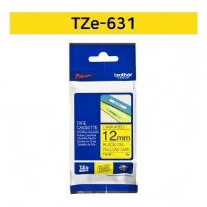 브라더 정품 TZe-631 12mm 노랑바탕검정글씨