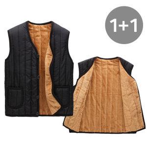 1+1 공용 융털 조끼 베스트 패딩 남성 경량 겨울 자켓