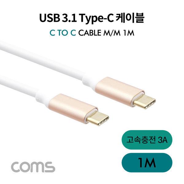 양쪽 USB 3.1 C타입 데이터 고속충전 3A 케이블/1M