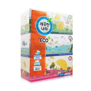 깨끗한나라 에코 각티슈 200매 3입 x4개 /미용티슈