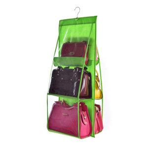 가방걸이 수납함 투명 6칸 블랙/정리함 정리대 보관