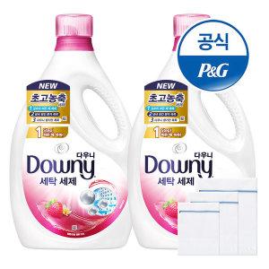 다우니 프리미엄 액체형 세제 핑크 2.8L 2개 +세탁망