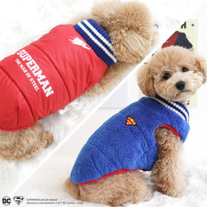 슈퍼맨 양면 패딩 S 강아지패딩/강아지겨울옷