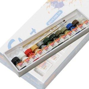 (AC00017) 무광 에나멜칼라 12색세트 붓포함 프라모델