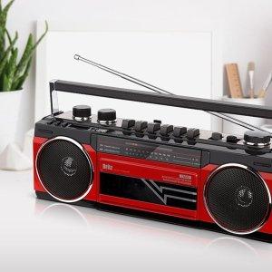 아날로그 카세트테이프 클래식 레트로 라디오 레드