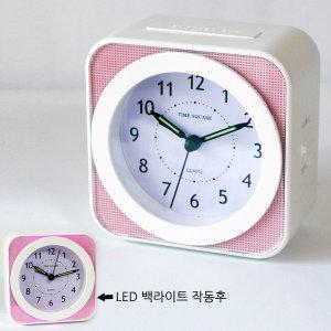 멜로디/벨 LED백라이트 무소음 탁상 알람 시계(핑크)