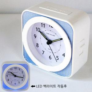 멜로디/벨 LED백라이트 무소음 탁상 알람 시계(블루)