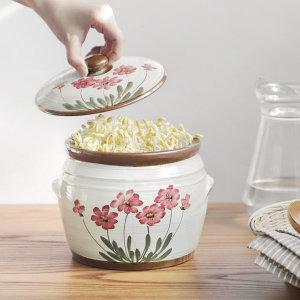 건강한 항아리 콩나물시루 들꽃(중) 도자기재배