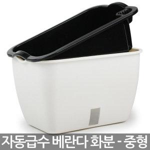 자동급수 사각 화분 중형 - 플라스틱화분 베란다화분