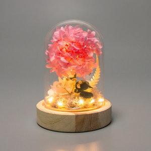 유리돔 프리저브드 수국 생화 LED 무드등 LML-PF01