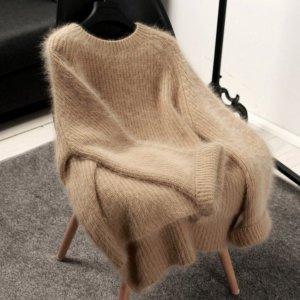 여성 라운드 니트 스웨터 티셔츠 루즈핏 앙고라 il59