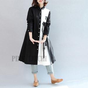 여성 박사이즈 루 롱 셔츠 와이셔츠 블라우스 패션 h1