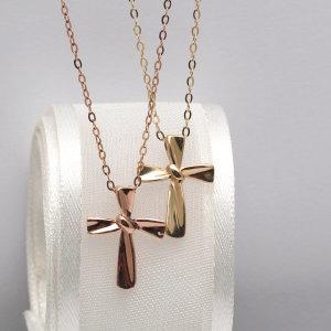 14k 십자가 금 목걸이 학생 여성 여자친구 생일 선물