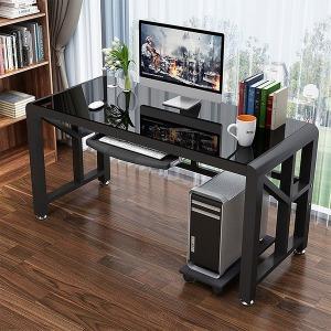 디자인굿 책상 강화유리 사무용 PC 컴퓨터 철제 게임
