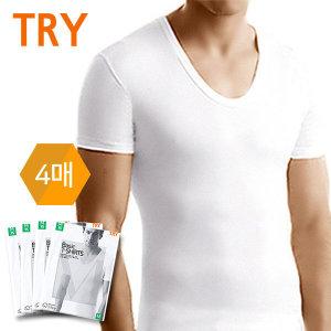(퍼스트클로) 트라이 남성반팔런닝4매세트 순면 내의 티셔츠 남자속옷_TMTSB01