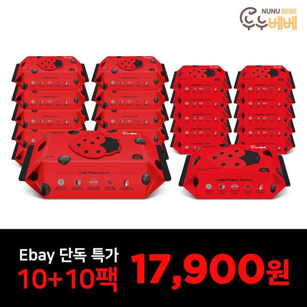 물티슈 벅스레드 캡 고평량 72매 10팩 + 레드휴대 10팩
