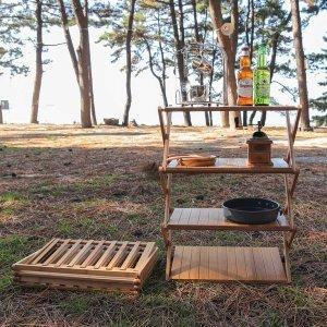 우드쉘프 캠핑선반 감성캠핑 나무선반 수납장 4단