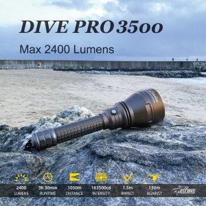 ELF-DIVE PRO3500/스쿠버/방수랜턴/지상용/광선검/빔