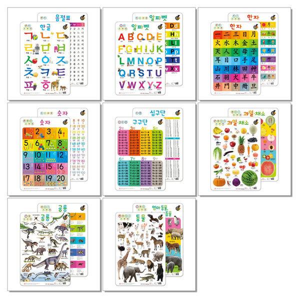 New 소리 나는 벽그림 한글 알파벳 숫자 한자 과일채소 구구단 공룡 동물 / 유아 학습