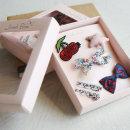 헤어악세사리 리본삔 체리핀 쉬폰 여아리본핀 6종 선물