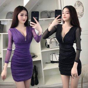여성 홀복 섹시 클럽 미니원피스 파티복 L32